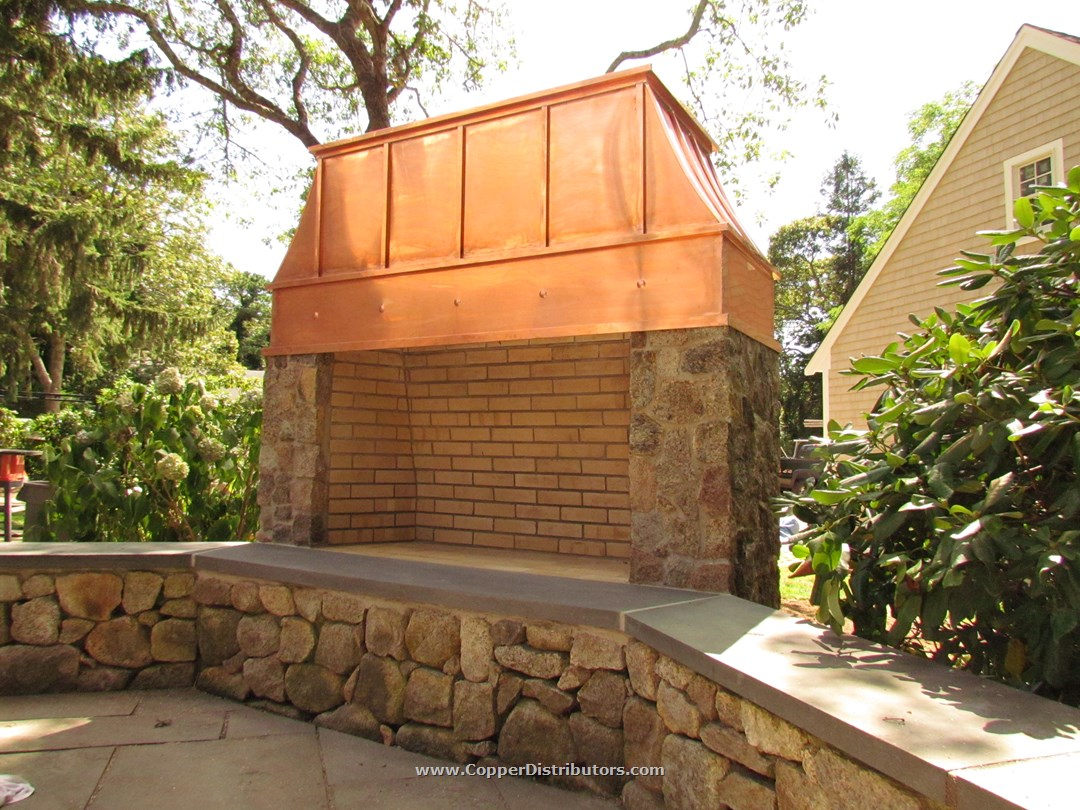 Custom Outdoor Fireplace Copper Chimney Cap